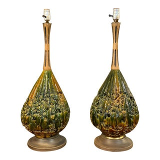 Vintage Glazed Crater Lamps, Pair For Sale