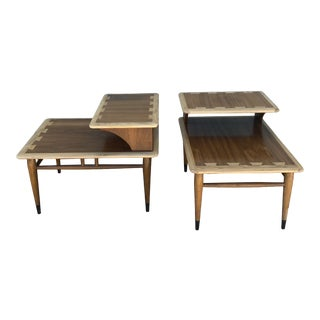 Mid Century Lane Acclaim Dovetail Two Tier End Tables - a Pair For Sale