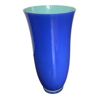 Carlo Moretti for Tiffany & Co Tall Blue Glass Vase For Sale