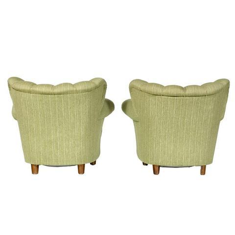 1940s Scandinavian Tufted Lounge Chairs - A Pair - Image 5 of 7