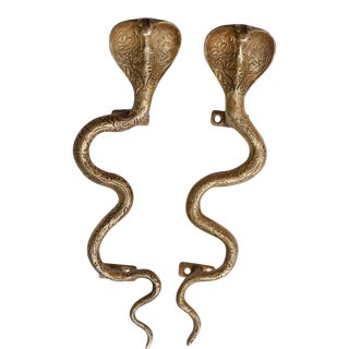 Large Gold Brass Cobra Door Handles - a Pair For Sale