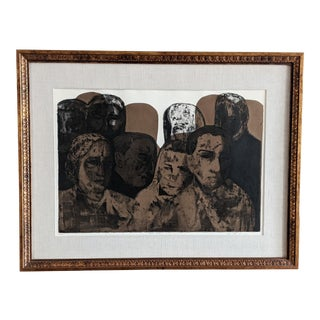 "1966 Ruth Leaf Ap Intaglio Etching ""Crowd"" For Sale"
