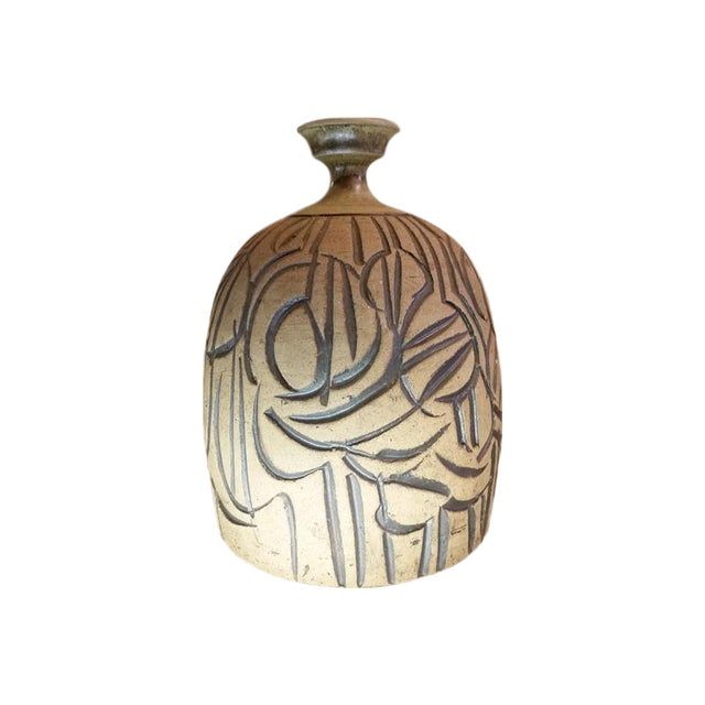 Mid-Century Incised Artisan Stoneware Weed Pot Vase For Sale