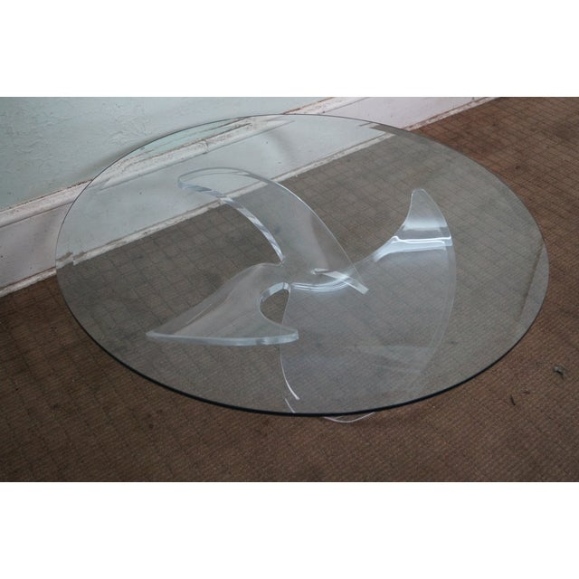 Knut Hesterberg Glass Top Lucite Base Coffee Table - Image 8 of 10