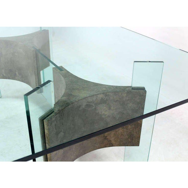 Superb MidCentury Modern GlassTop And Base Dining Or Conference - Mid century modern glass top dining table