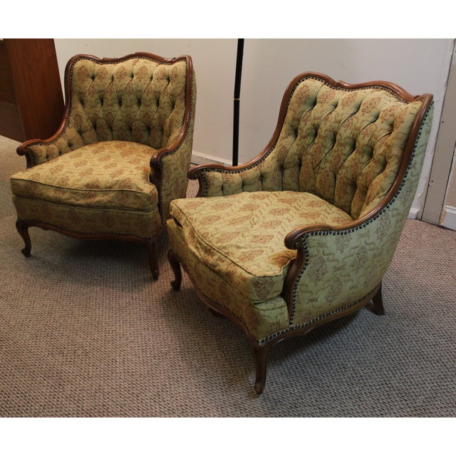 French Tufted Back Bergere Arm Chairs - Pair - Image 3 of 10