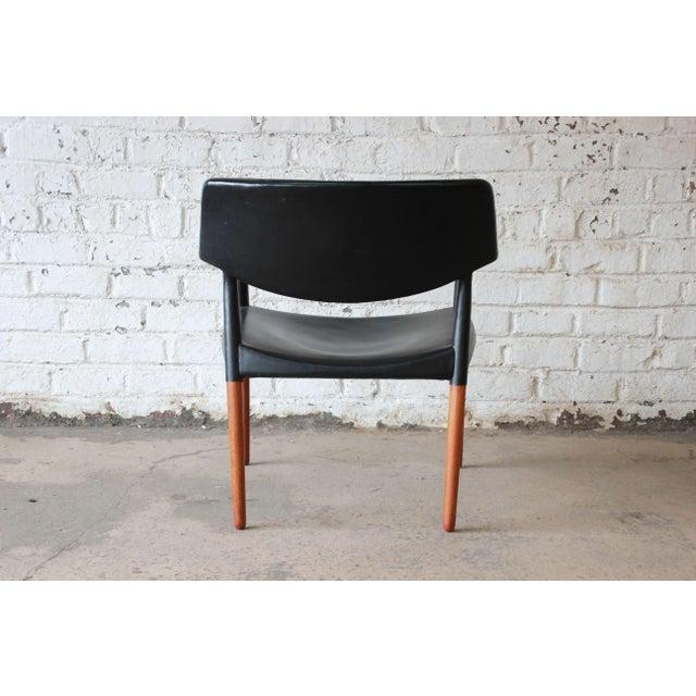 Black Ejner Larsen and Aksel Bender Madsen Black Leather & Rosewood Armchair For Sale - Image 8 of 9