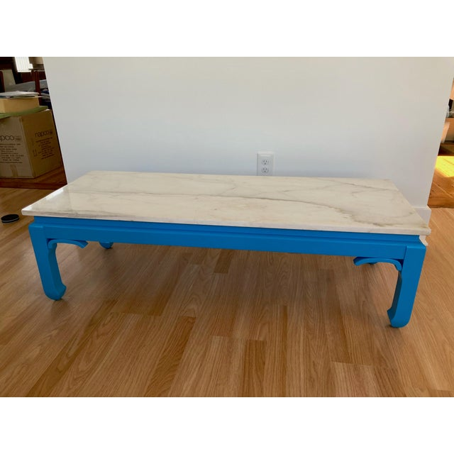 Mid 20th Century 20th Century Ming Blue Chow Leg Marble Coffee Table For Sale - Image 5 of 11