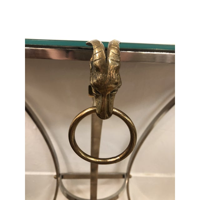 Polished Steel, Mirror and Brass Demi-Lune Form Console For Sale - Image 4 of 13