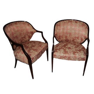 PairMahogany Federal Style Upholstered Armchair For Sale