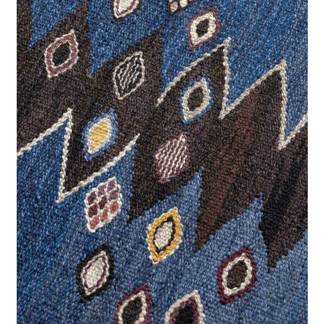 Textile Mid-Century Handwoven Signed Swedish Wool Rug For Sale - Image 7 of 8