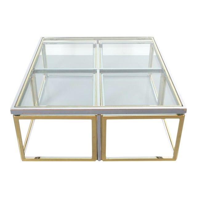 Square Segment Bicolor Brass Glass Coffee Table by Maison Charles, France 1975 For Sale