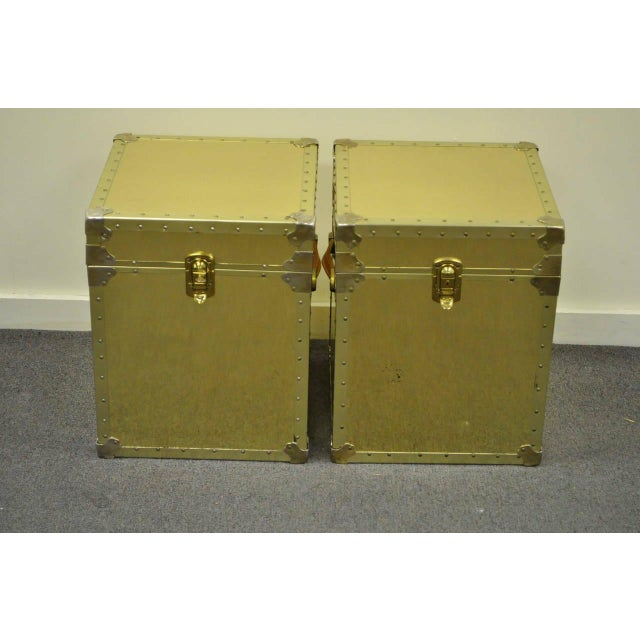 Hollywood Regency 1970s Hollywood Regency Brass Clad Trunks Chest Side Tables - a Pair For Sale - Image 3 of 11