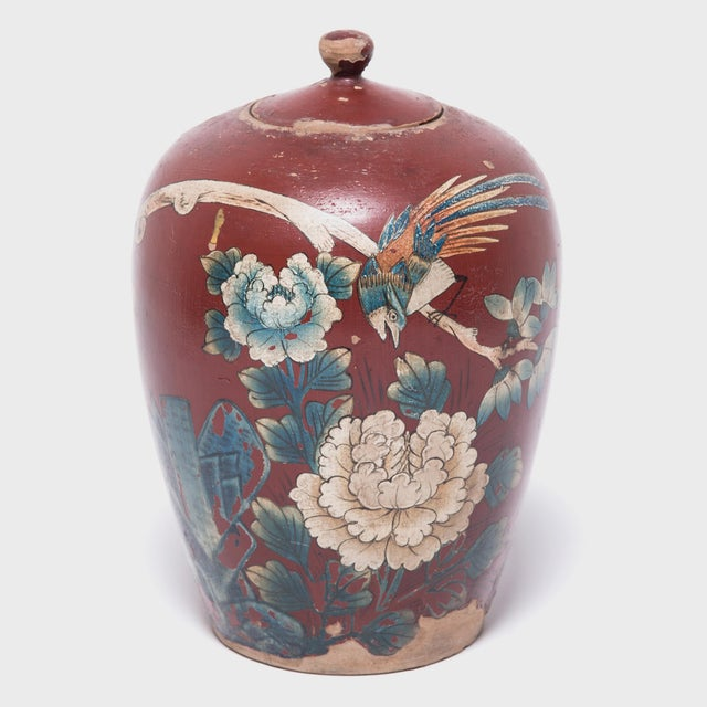 White Chinese Painted Oxblood Jars With Phoenix & Peonies - a Pair For Sale - Image 8 of 13