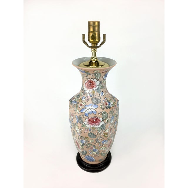 Asian Blossoms Motif Vase Lamp For Sale - Image 3 of 4