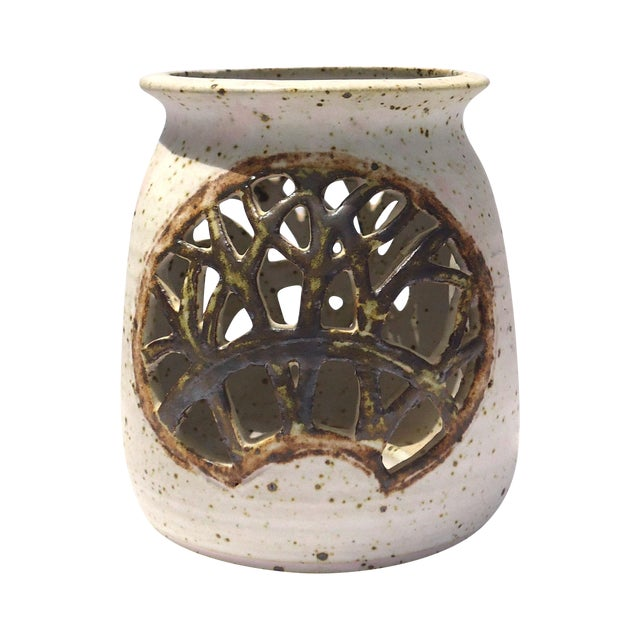 Vintage 1970s Pottery Reticulated Votive Holder - Image 1 of 6