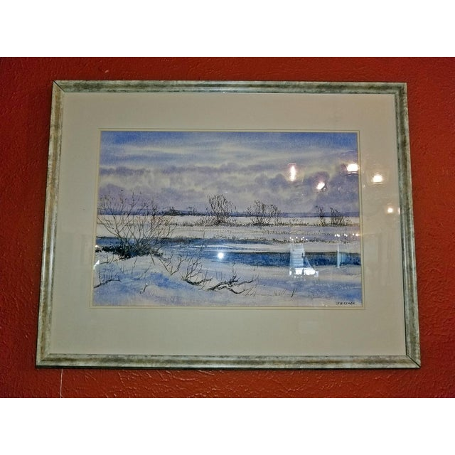 """Contemporary Early 21st Century Vintage Irish """"Winter Scene"""" Watercolor by Rev Jh Flack For Sale - Image 3 of 9"""