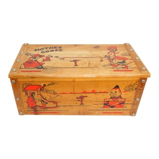 1950s Vintage Mother Goose Wooden Toy Chest For Sale
