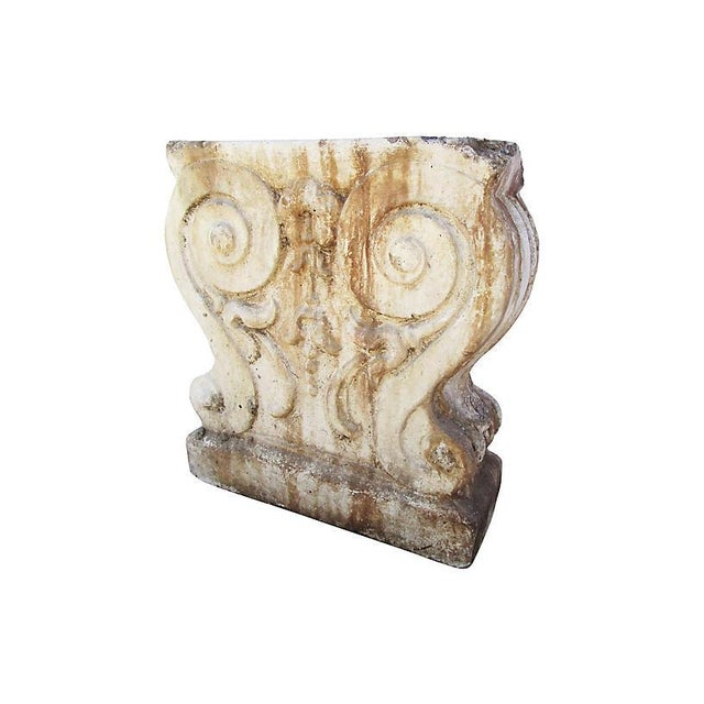 19th-century French garden fragment with a desirable naturally weathered aged finish. Age wear.
