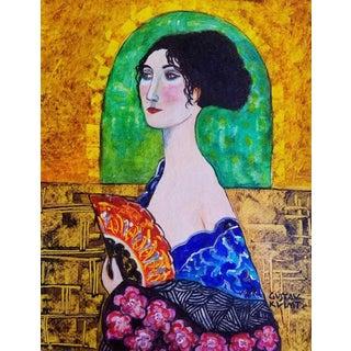 Modern Woman Mixed Media Painting on Hard Paper Signed Gustav Klimt For Sale