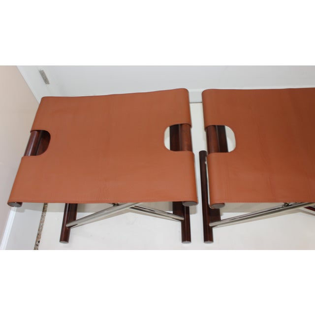1980s Vintage Folding X-Sling Stools in Leather, Stainless Steel and Mahogany a Pair For Sale - Image 5 of 13