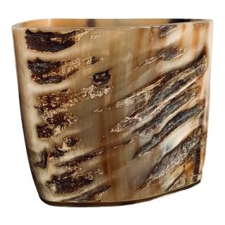 Natural Carved Ram Horn Vase For Sale