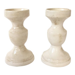 Cream Crackle Candle Holders - A Pair