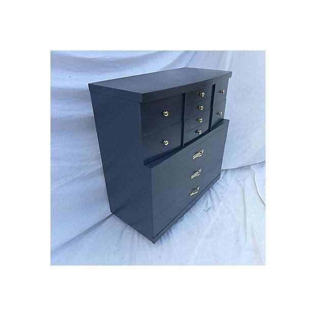 Metal Urban Style Step-Down Tall Dresser in Asian Black For Sale - Image 7 of 8