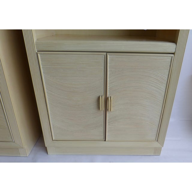 Modern Split Reed Lighted Cabinets - A Pair - Image 4 of 11