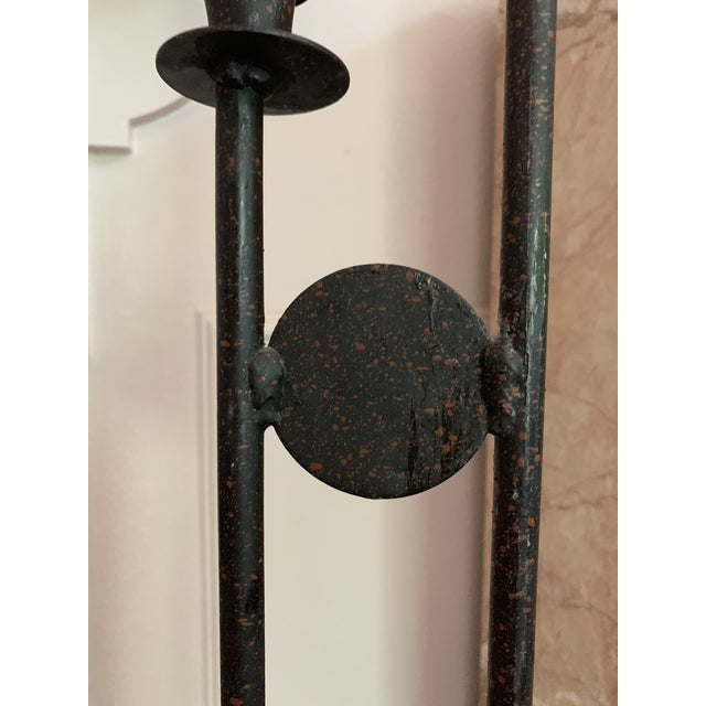 1980s Post Modern Iron Large Scale Floor Candelabra For Sale - Image 4 of 5