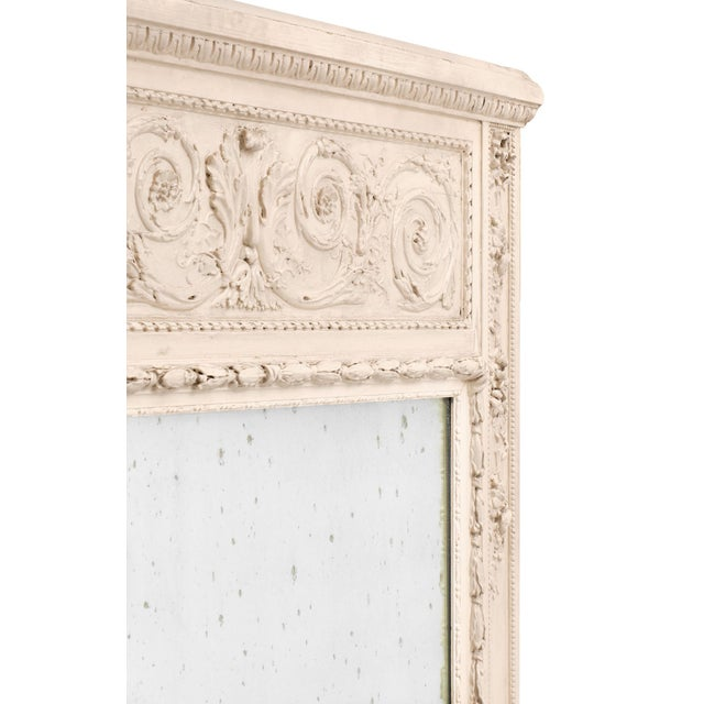Glass French Antique White Trumeau Mirror For Sale - Image 7 of 10