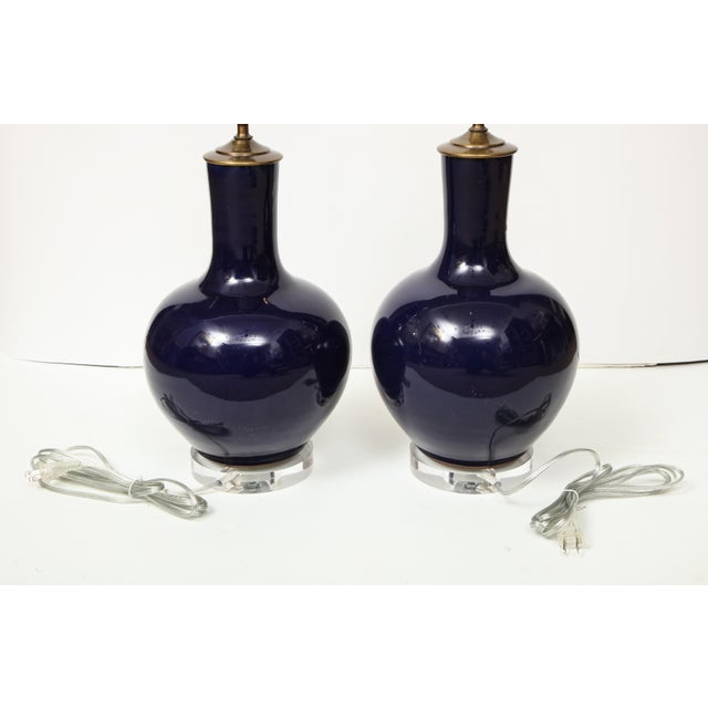 Navy Blue Chinese Vase Lamps - A Pair For Sale - Image 8 of 9