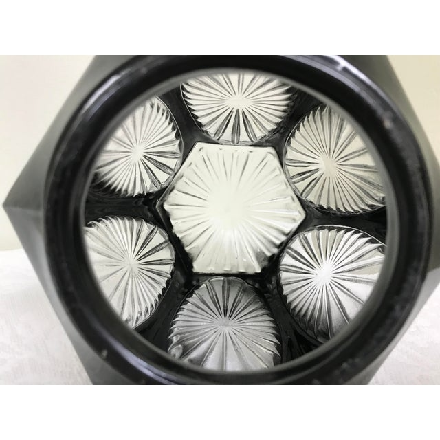 Glass 1950s Vintage Black & Clear Glass Hexagon Sconce Shade For Sale - Image 7 of 8