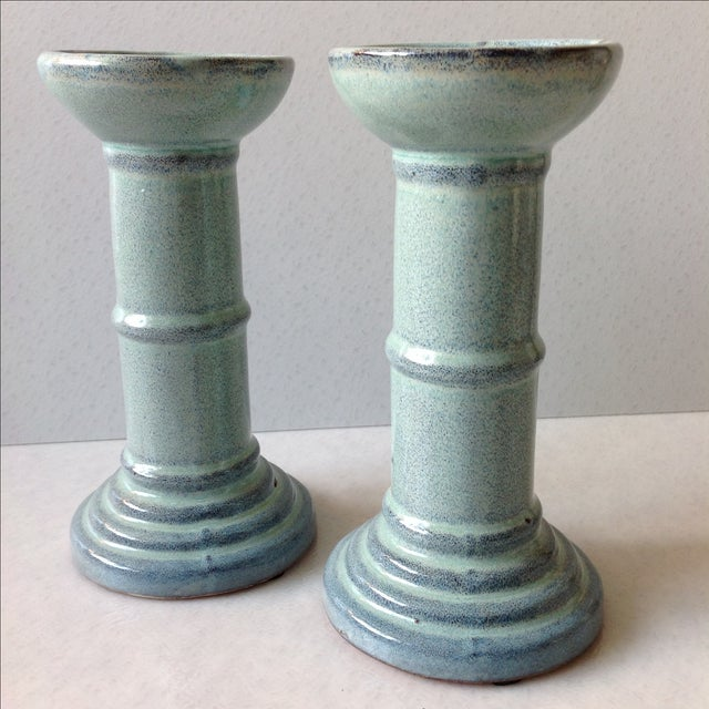 Sea Foam Pottery Candlesticks - A Pair For Sale - Image 7 of 11