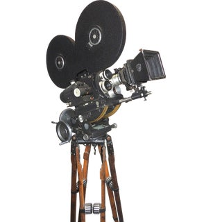 Hollywood Mid Century Movie Camera With Geared Head and Vintage Wood Tripod Legs For Sale