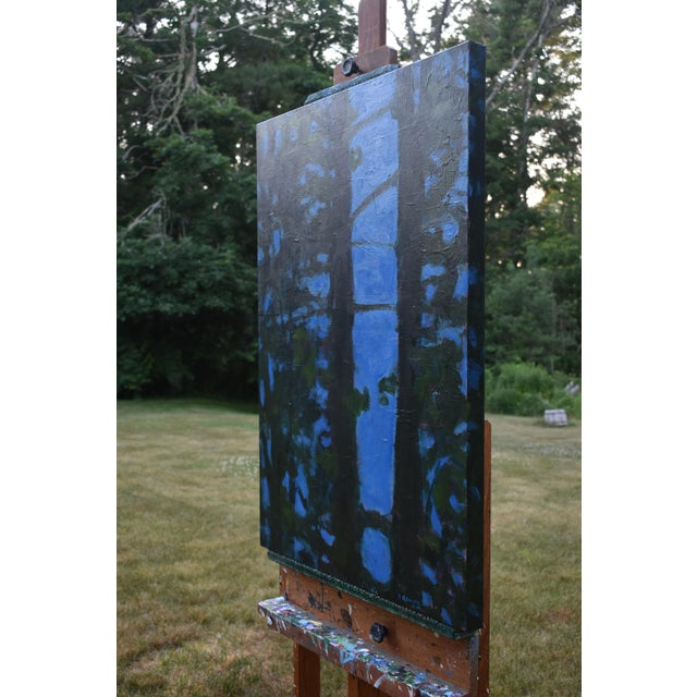 """Blue """"Blue Punctuation"""" Abstract Painting For Sale - Image 8 of 10"""