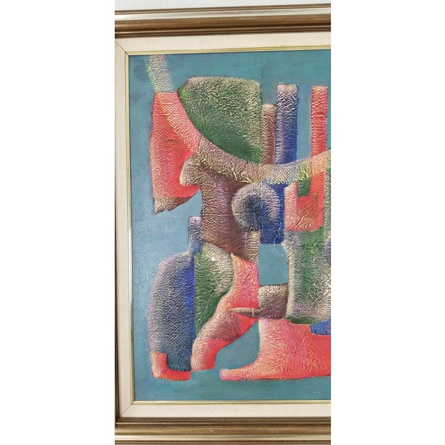 Blue 1990 Anna Goncharova Postmodern Style Abstract Painting For Sale - Image 8 of 13