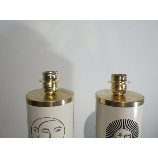 Metal 1960s Vintage Sole Fornasetti Table Lamps - a Pair For Sale - Image 7 of 9