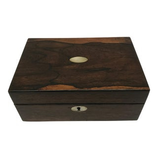 Antique English Rosewood Box with Mother of Pearl Inlays For Sale