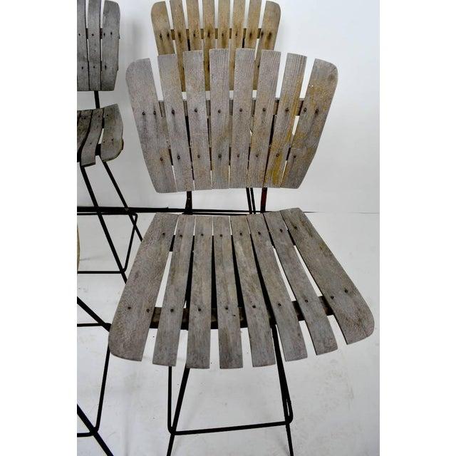 Mid 20th Century Vintage Umanoff Weathered Wood Stools- Set of 4 For Sale - Image 5 of 11