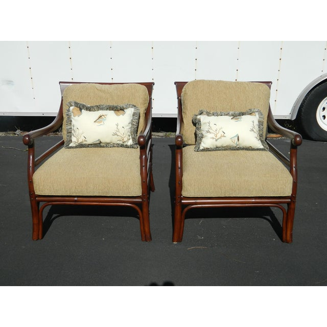 Palecek Colonialwood Club Chairs - A Pair - Image 3 of 11