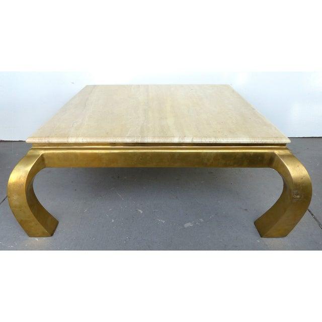 Mid-Century Modern Brass & Travertine Coffee Table - Image 2 of 9