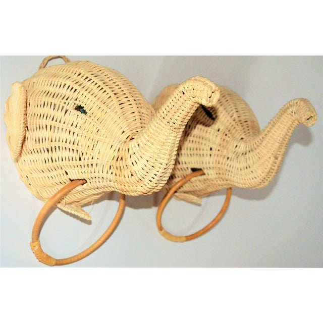 Elephant Wall Mount Wicker Towel Rings - a Pair For Sale - Image 12 of 12