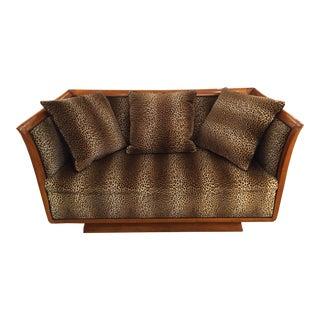 1920s Vintage Biedermeier Style Faux Leopard Sofa For Sale