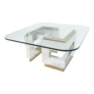 Modernist Gold and Silver Geometric Base Glass Top Coffee Table For Sale