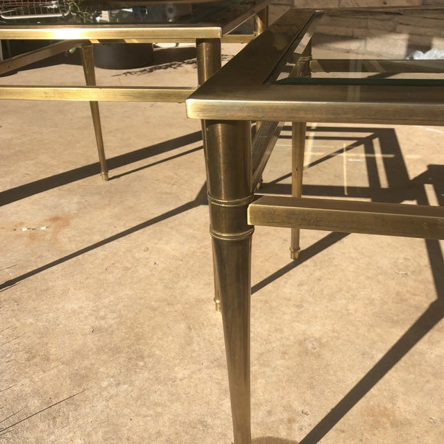 Glass Top Brass End Tables - a Pair For Sale - Image 12 of 13