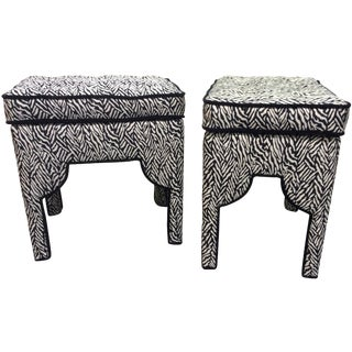Black and Cream Zebra Print Ottomans - A Pair For Sale