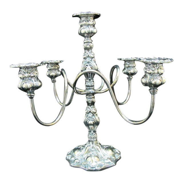 Early 20th Century Art Nouveau Silverplate Spiraling 4 Arm Candelabra Candlestick Holder For Sale