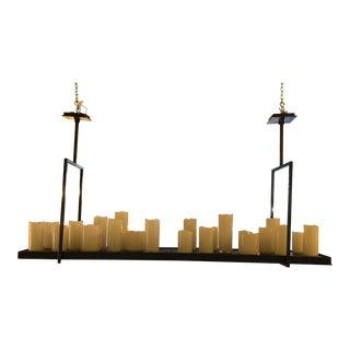 Custom Metal + Handblown Candles Pendant Light Fixture For Sale