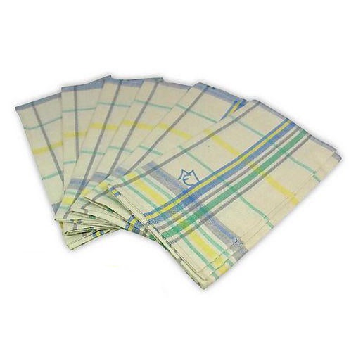 Blue Green Linen Monogrammed M/E Towels - Set of 6 - Image 1 of 4